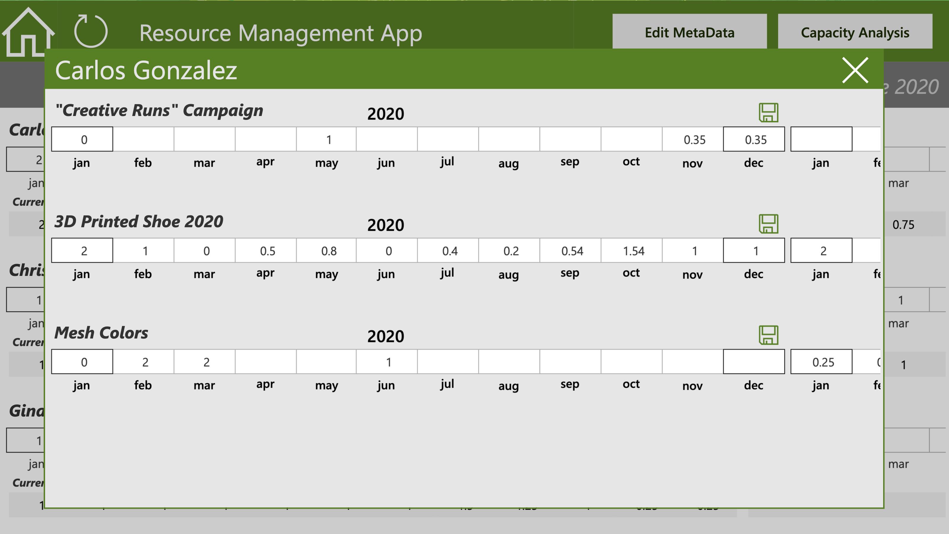 GreenData.io | Resource Demand Management, a Power App - Portfolio Staff Demand