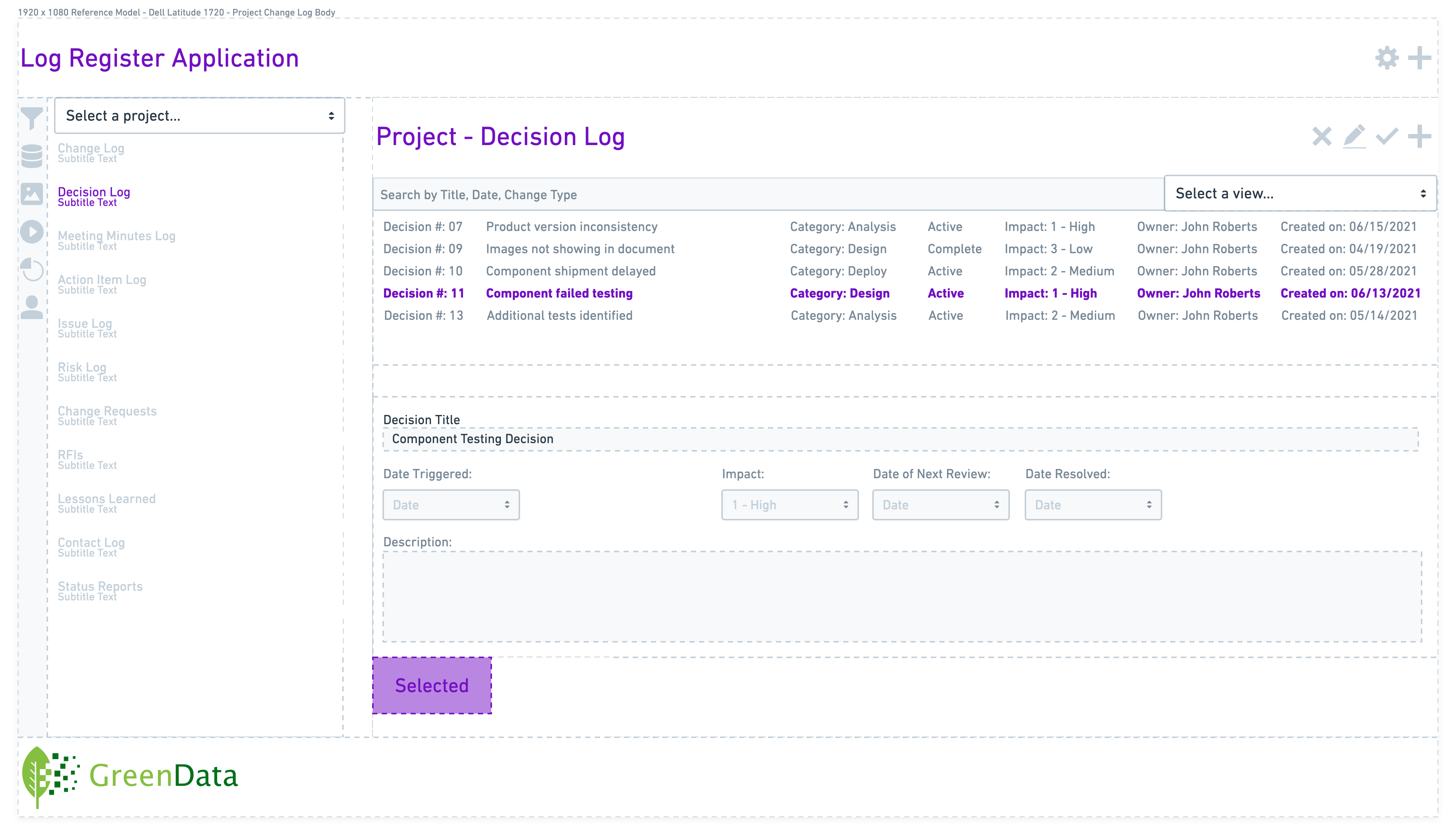 GreenData Power App for tracking project decisions
